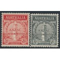 AUSTRALIA - 1935 ANZAC Anniversary set of 2, mint hinged – SG # 154-155
