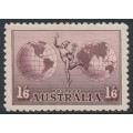 AUSTRALIA - 1934 1/6 dull purple Hermes airmail, no watermark, perf. 11, MH – SG # 153