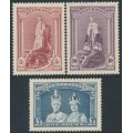AUSTRALIA - 1938 5/- to £1 Robes set of 3 on thick paper, mint hinged – SG # 176-178