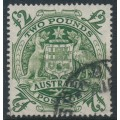 AUSTRALIA - 1950 £2 green Coat of Arms, 'roller flaw under E of POSTAGE', used – SG # 224da