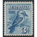 AUSTRALIA - 1928 3d blue Kookaburra, mint never hinged – SG # 106