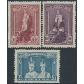 AUSTRALIA - 1948 5/- to £1 Robes set of 3 on thin paper, MNH – SG # 176a-178a