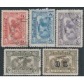 AUSTRALIA - 1931 2d to 6d Kingsford Smith Airmail set of 5, used – SG # 121-123 + 139 + 139a