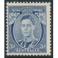 AUSTRALIA - 1937 3d blue KGVI definitive, die I (TA joined), perf. 13½:14, MH – SG # 168