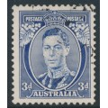 AUSTRALIA - 1937 3d blue KGVI definitive, die I (TA joined), perf. 13½:14, used – SG # 168