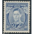 AUSTRALIA - 1937 3d blue KGVI definitive, die I (TA separated), perf. 13½:14, MH – SG # 168b