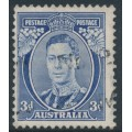 AUSTRALIA - 1937 3d blue KGVI definitive, die I (TA separated), perf. 13½:14, used – SG # 168b