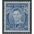 AUSTRALIA - 1938 3d blue KGVI definitive, perf. 13½:14 (die II, thin paper), MH – SG # 168ca