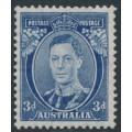 AUSTRALIA - 1938 3d blue KGVI definitive, perf. 13½:14 (die II, thin paper), MNH – SG # 168ca