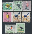 AUSTRALIA - 1964-1965 6d to 3/- Native Birds set of 8, MNH – SG # 363-369 + 367a