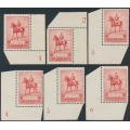 AUSTRALIA - 1935 2d red KGV Silver Jubilee, set of six plate numbers, MH – SG # 156