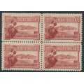 AUSTRALIA - 1927 1½d brownish lake Canberra, block of 4, MNH – SG # 105