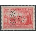 AUSTRALIA - 1937 2d scarlet NSW Anniversary, reversed G NSW perfin, used – SG # 193