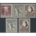 AUSTRALIA - 1948-1956 1/3 to 2/- Definitives set of 5, MNH – SG # 223, 223a, 224, 224e, 224f