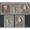 AUSTRALIA - 1948-1956 1/3 to 2/- Definitives set of 5, MNH – SG # 223, 223a, 224, 224e, 224f