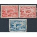 AUSTRALIA - 1932 2d red & 3d blue Sydney Harbour Bridge set of 3, MNH – SG # 141+142+144