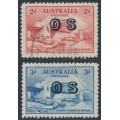 AUSTRALIA - 1932 2d red & 3d blue Sydney Harbour Bridge, overprinted OS, CTO – SG # O134-O135