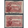 AUSTRALIA - 1927 1½d brownish lake Canberra, x2 with different first day cancels, CTO – SG # 105