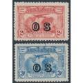AUSTRALIA - 1931 2d red & 3d blue Kingsford Smith airmail overprinted OS, CTO – SG # O123-O124