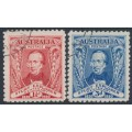 AUSTRALIA - 1930 1½d red & 3d blue Sturt set of 2, CTO – SG # 117-118