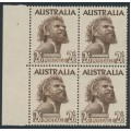 AUSTRALIA - 1957 2/6 brown Aboriginal, no watermark, cream paper, block of 4, MNH – SG # 253b