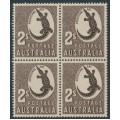 AUSTRALIA - 1956 2/- chocolate Crocodile, no watermark, block of 4, MNH – SG # 224f