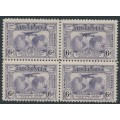 AUSTRALIA - 1931 6d violet Kingsford Smith airmail, block of 4, 're-entry to FO & LD', MH – ACSC # 143d