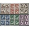 AUSTRALIA - 1959-1962 6d to 1/2 Australian Animals set of 6 in blocks of 4, MNH – SG # 316-321