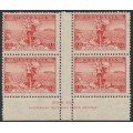 AUSTRALIA - 1936 2d scarlet Telephone Cable (type A), imprint block of 4 – ACSC # 169zr