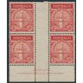 AUSTRALIA - 1935 2d scarlet ANZAC Anniversary, imprint block of 4, MH – ACSC # 164zl