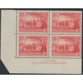 AUSTRALIA - 1937 2d scarlet NSW Anniversary (type B), imprint block of 4, MH – ACSC # 175Bzg