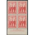 AUSTRALIA - 1940 2d scarlet AIF, imprint block of 4, MNH – ACSC # 219Azg
