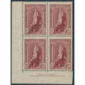 AUSTRALIA - 1948 5/-brown-lake Robes on thin paper, imprint block of 4, MH – ACSC # 213Bza