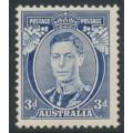 """AUSTRALIA - 1937 3d blue KGVI definitive, die I, """"white wattles"""", perf. 13½:14, MH – SG # 168a"""