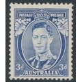 """AUSTRALIA - 1937 3d blue KGVI definitive, die I, """"white wattles"""", perf. 13½:14, MNH – SG # 168a"""