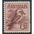 AUSTRALIA - 1914 6d reddish maroon engraved Kookaburra, CTO – ACSC # 60Bw