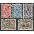 AUSTRALIA - 1931 2d to 6d Kingsford Smith Airmail set of 5, MNH – SG # 121-123 + 139 + 139a