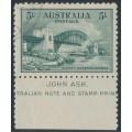 AUSTRALIA - 1932 5/- blue-green Sydney Harbour Bridge, with John Ash imprint, CTO – ACSC # 148w+zf
