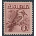 AUSTRALIA - 1914 6d reddish maroon engraved Kookaburra, MH – ACSC # 60B