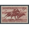 AUSTRALIA - 1961 5/- purple-brown Cattle on cream paper, MNH – SG # 327