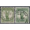 AUSTRALIA - 1932 1/- green & 1/- yellow-green Lyrebird, used – ACSC # 145A+145B
