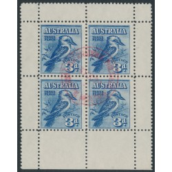AUSTRALIA - 1928 3d blue Kookaburra M/S, red exhibition cancel, CTO – SG # MS106a