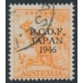 AUSTRALIA - 1946 ½d orange Kangaroo overprinted BCOF, used – SG # J1