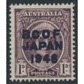 AUSTRALIA - 1946 1d purple-brown Queen Elizabeth overprinted BCOF, MNH – SG # J2