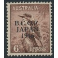 AUSTRALIA - 1946 6d dull brown Kookaburra overprinted BCOF, MNH – SG # J4