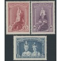 AUSTRALIA - 1938 5/- to £1 Robes set of 3 on thick paper, MNH – SG # 176-178