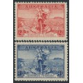 AUSTRALIA - 1936 2d red & 3d blue Telephone Cable set of 2, MNH – SG # 159-160