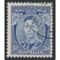 AUSTRALIA - 1937 3d blue KGVI definitive, die I (TA joined), perf. 13½:14, CTO – SG # 168