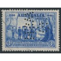 AUSTRALIA - 1937 3d blue NSW Anniversary, reversed G NSW perfin, used – SG # 194
