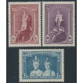 AUSTRALIA - 1948 5/- to £1 Robes set of 3 on thin paper, MH – SG # 176a-178a